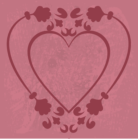 designelement: Abstract floral Heart background with natural grunge textures. No Gradients.