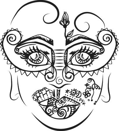 야생 포기, 추상 드로잉, 잉크 및 브러시 만든 낙서 하나의 색상입니다. 일러스트