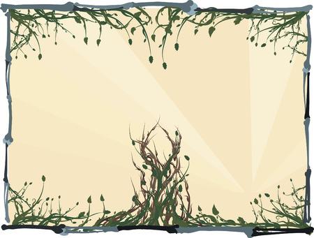 pagan: Envahi les racines sauvages et de feuilles avec un os cadre.