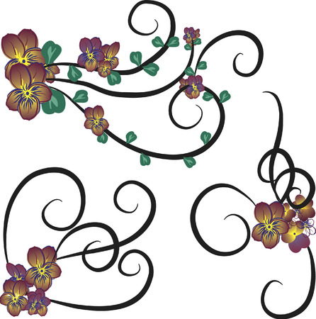 twists: Illustration of purple pansies in a group of design elements.