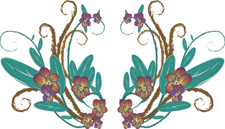 Illustration of purple pansies in a group of design elements.