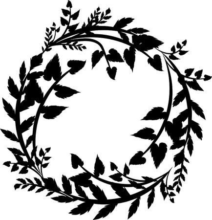 overgrown: Leaves and wild strokes in a circle shaped design element.