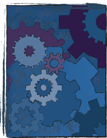 A mechanical background image of moving gears with leaves clogging up the machine. 向量圖像