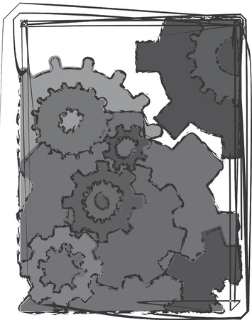 mechanical background image of moving gears.  Illustration