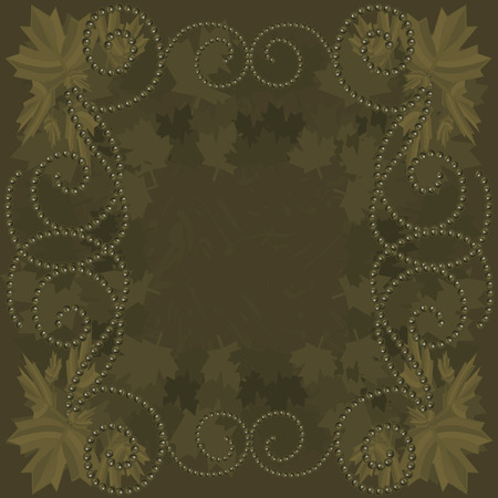 twists: Border of falling maple leaves and pearls together in a swirling grunge background.