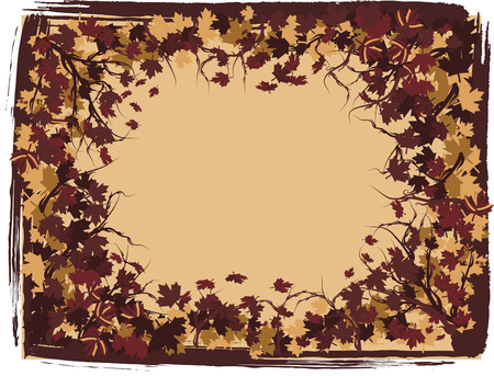 Border of falling maple leaves and pearls together in a swirling grunge background. The file contains no gradients.  Vector