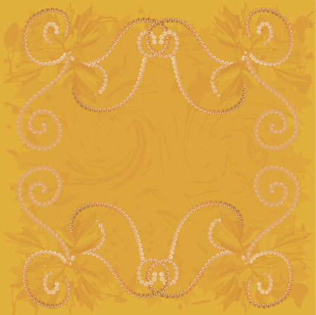 twists: Border of falling maple leaves and pearls together in a swirling grunge background. The file contains no gradients.