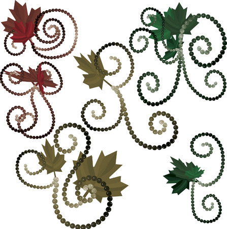 Maple leaves and pearls together in swirling groups of design elements. The file contains no gradients. The illustration is layered and easy to edit.