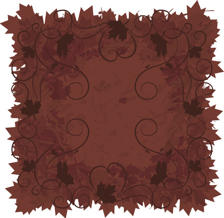 Border of falling maple leaves and pearls together in a swirling grunge background. The file contains no gradients.