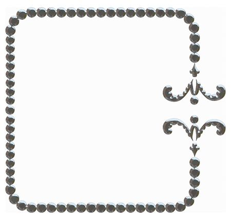 designelement: Illustration of isolated nature frame with metal finish, paths included in file