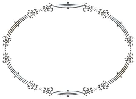 silver frame: Illustration of isolated nature frame with metal finish, paths included in file.  Stock Photo