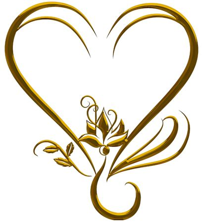 Illustration of isolated nature heart frame with metal finish, paths included in file.