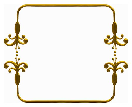 designelement: Illustration of isolated nature frame with metal finish, paths included in file.  Stock Photo