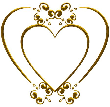 Illustration of isolated nature heart frame with metal finish, paths included in file.  illustration