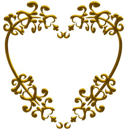 designelement: Illustration of isolated nature heart frame with metal finish, paths included in file.