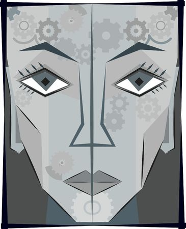 conform: Robot woman conceptual illustration, no gradients.