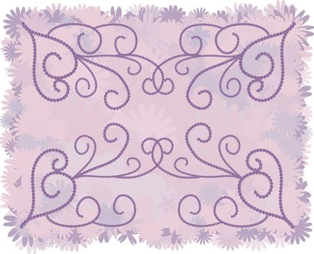 twists: Illustration of funky retro flowers as a border and background with pearl accents. File contains no gradients.