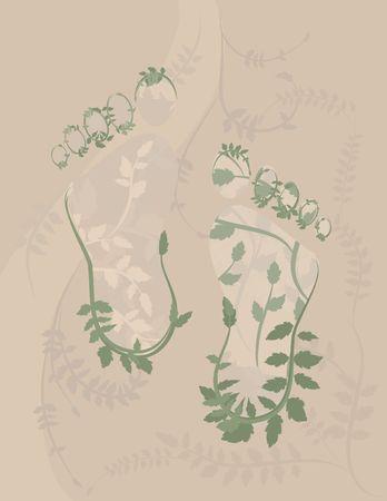 creador: Conceptual ilustraci�n de la humanidad que viven en armon�a con la naturaleza.  Foto de archivo
