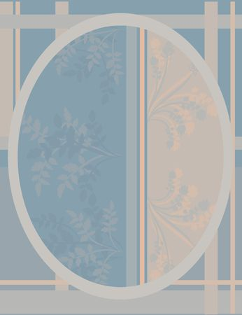 designelement: A stylized illustration of leaves in a retro-framed background, coordinates with several illustrations from my portfolio. Stock Photo