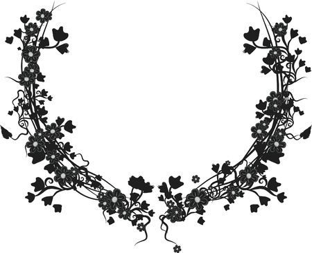 Illustration of grapes, flowers and ivy in an Cup shaped design element.  File contains no gradients.  illustration
