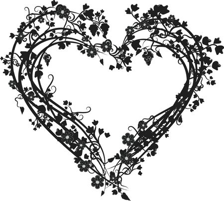 Illustration of grapes, flowers and ivy in an Heart shaped design element.  File contains no gradients.