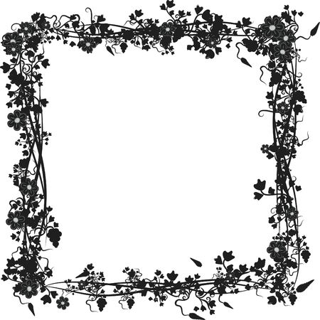 Illustration of grapes, flowers and ivy in an square design element.  File contains no gradients.  illustration