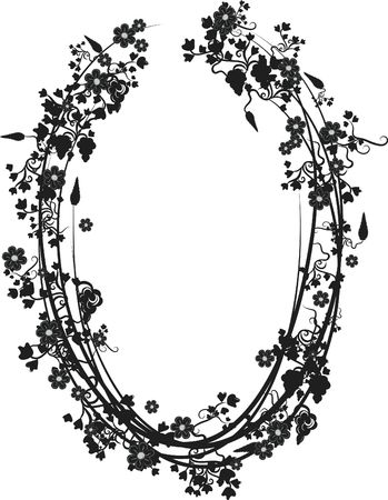 Illustration of grapes, flowers and ivy in an oval design element.  File contains no gradients.