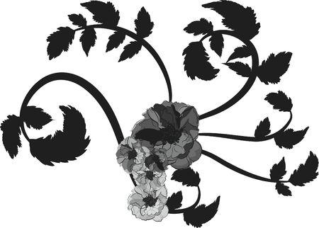 Hand drawn Wild Rose illustration, file has no gradients.