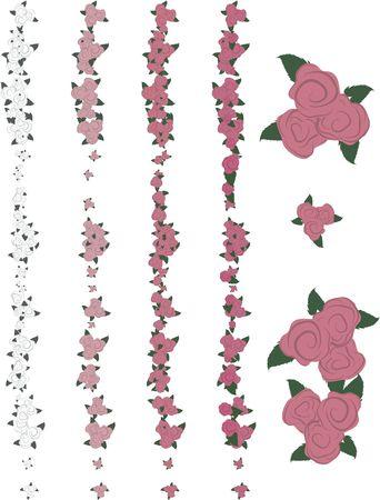 wildrose: Hand drawn Rose design elements, file has no gradients.