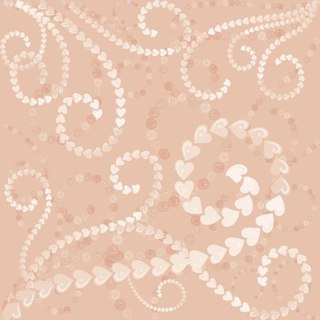 twists: Illustration of funky swirling pearls and heart pearls.