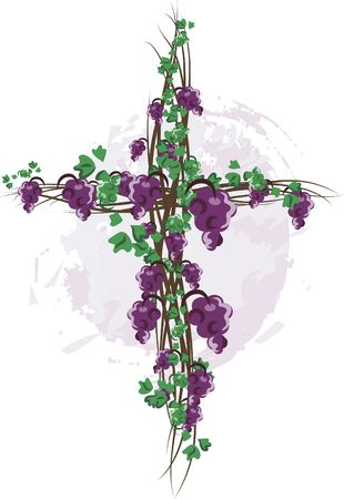 twists: Illustration of grapes and ivy in a cross design element.