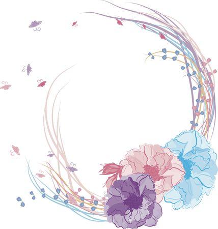 Dibujados a mano Wild Rose marco con encaje y perlas. Foto de archivo - 2318492