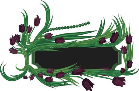 designelement: A stylized drawing of tulips in a frame, with an art deco style.