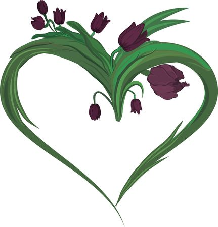 A stylized drawing of tulips in a heart framed design element.