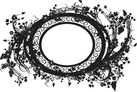 designelement: Illustration of grapes, flowers and ivy in an oval design element.