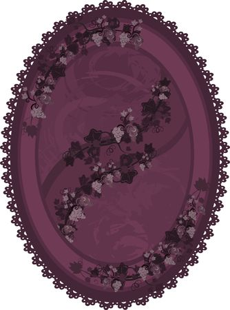 twists: Illustration of grapes and ivy with lace in a frame design element.  File contains no gradients.  Stock Photo