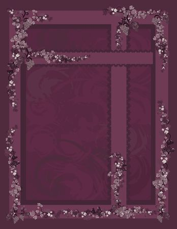 Illustration of grapes and ivy with lace in a frame design element.  File contains no gradients.  Imagens