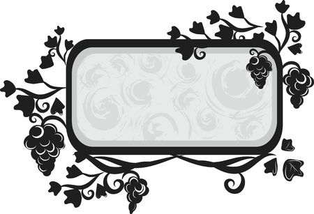 Illustration of grapes and ivy in a frame design element.  File contains no gradients.  Zdjęcie Seryjne