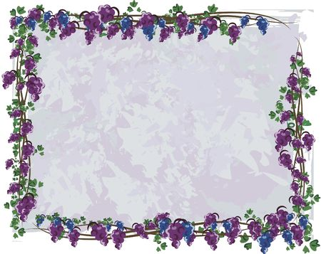 twists: Illustration of grapes and ivy in a frame design element.  File contains no gradients.  Stock Photo