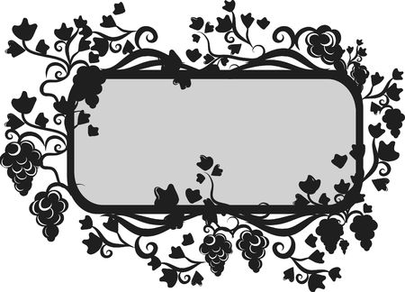 Illustration of grapes and ivy in a frame design element.  File contains no gradients.  Imagens