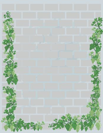 Illustration of grapes and ivy on a brick wall with grunge texture.  File contains no gradients.  Banco de Imagens