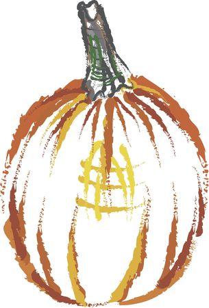gestural: Gestural hand drawn illustration of a pumpkin.