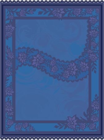 A stylized illustration of leaves and lotus flowers in a frame design element illustration