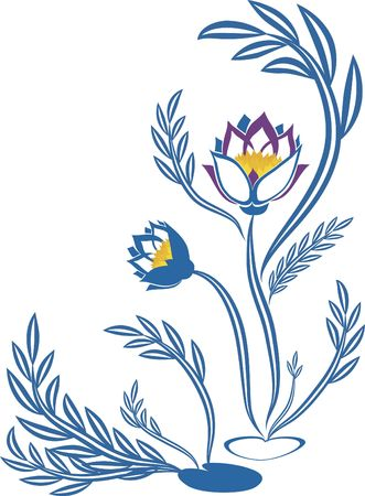 Stylized illustration of a lotus flower. File contains no gradients. illustration
