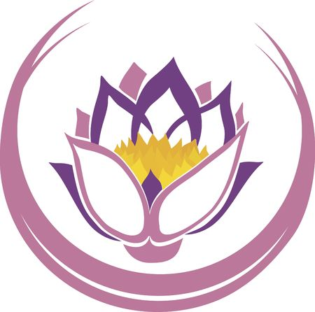 Stylized illustration of a lotus flower. File contains no gradients. Stock Photo