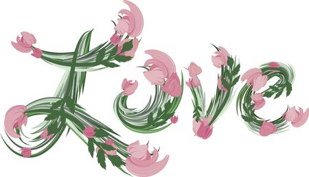 Illustration of colorful tulips Love text, with no gradients.  Stock Illustration - 2336310
