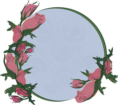 twists: Illustration of colorful roses in a circle frame design element, with no gradients.