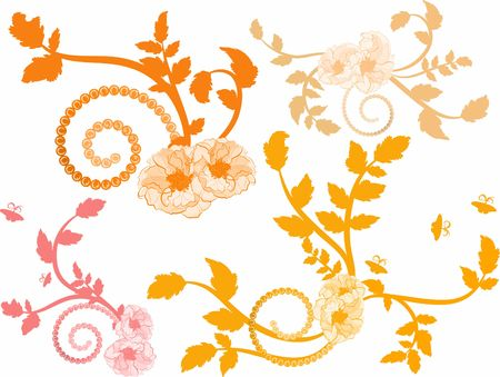 and has: Hand drawn Wild Rose design elements, file has no gradients.