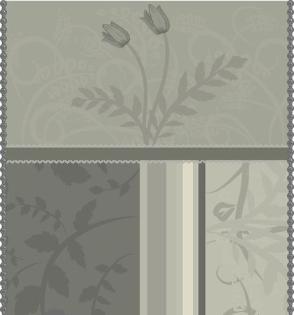designelement: A stylized illustration of leaves and tulips in a retro-framed background; no gradients