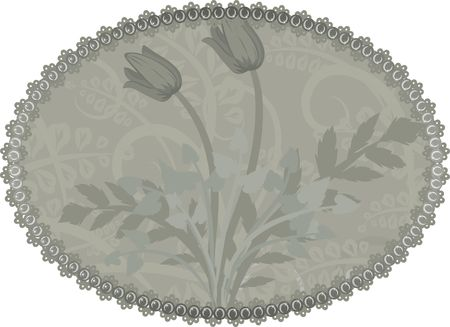 oval  alcohol: A stylized illustration of leaves and tulips in a retro-framed background; no gradients